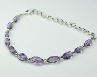 """AAA Natural Amethyst Faceted Curved Rice, 5"""" Inches Bracelet, Gemstone Size - 3x7 To 4x9, Amethyst Nugget Bracelet."""