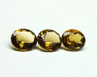 3 PCs Lot Natural Whiskey Quartz Faceted Oval 10x12 mm 3 PCs Shape- Oval Faceted Natural Quartz Gemstone