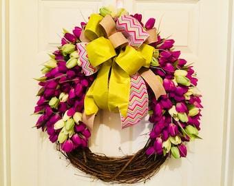 Spring wreath, tulip wreath, purple tulip wreath, grapevine wreath , front door wreath