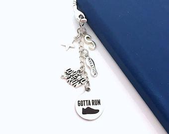 Gift for Runner Bookmark, Marathon Athlete Metal Book Mark, Gotta Run Sneaker Charm personalized initial Star Love to Run Men Women Him Her