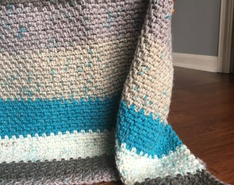 Crocheted Baby Afghan : Teal/Gray/Brown/Beige/Cream - 24in x 30in