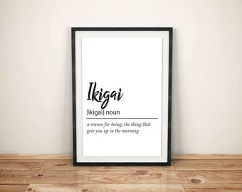 Ikigai Definition - Printable Wall Art, Instant Download Poster
