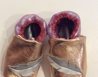 Leather feather baby booties