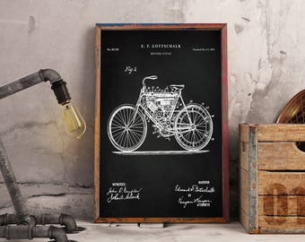 Motorcycle Poster - 1901 Motorcycle Patent - Harley Davidson - Motorcycle Print - Harley Art - Motorcycle Wall Art - Harley Patent Art