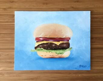 "Hamburger or Cheeseburger Painting / Oil on Canvas (8""x10"")"