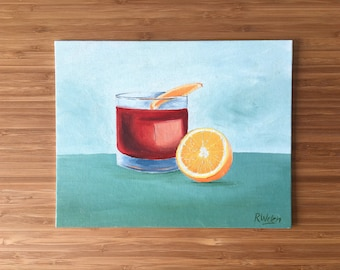 """Negroni Cocktail Painting / Oil on Canvas (10""""x8"""")"""