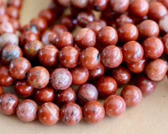 8mm Red Fire Agate beads, full strand, natural stone beads, round, 80082