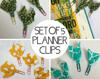 Set of FIVE Planner Clips / Bible Journaling Clips / Fabric Clips / Fancy Paper Clips / Fabric Bookmarks / Fabric Page Marker