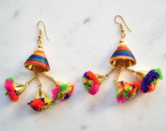 Rainbow Earrings, Pom Pom Earrings, Colourful Dangling Earrings, Retro Earrings, Bohemian Earrings, Boho Earrings, Big Dangling Earrings