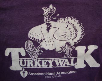 Vintage 80's American Heart Association Turkeywalk Paper Thin Purple T Shirt Size M