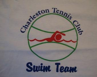 Vintage 80's Charleston Tennis Club Swim Team Sports T Shirt Size M