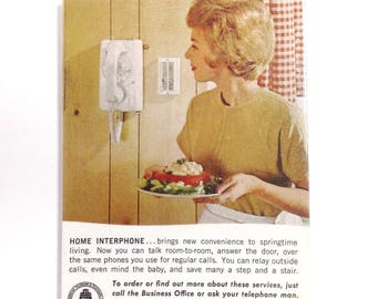 Vintage Bell Telephone Magnet OOAK Fridge Magnet MCM Magnet Mid-Century Kitchen Retro Kitchen Housewife Vintage Phone - Magnet No US-04