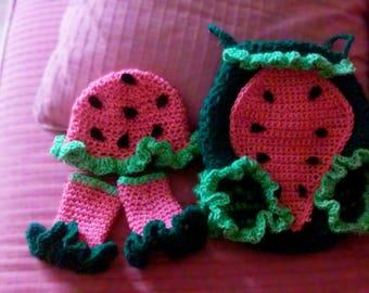 Crochet Baby Girl Watermelon Set