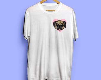 Pug T-shirt Top - I Love My Pug Shirt - Pug Owner Gift - Pug Dog Graphic Illustration Tee Design - Cute Pug Mom Shirt For Women - Pug Lover