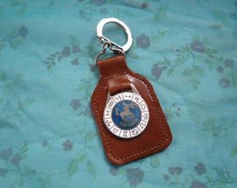 Vintage Sagittarius Enamel Key Fob Made in England