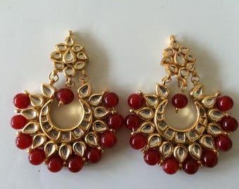 Kundan Chandbali earrings with red beads