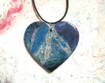 Fluid Art Necklace, Valentines Gift, Wearable Art, Liquid Art Jewellery, Abstract Art Pendant, Resin Jewellery, Hand Painted, Gift for Her