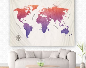 Rainbow Tapestry, World Map Wall Hanging, Globe Tapestry, World Map Decor, Color Map Wall Hanging, Travel Tapestry