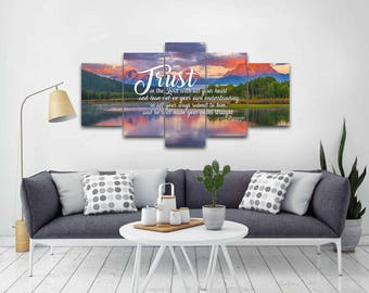 Proverbs 3:5-6 #36 NIV Trust in the Lord Bible Verse Canvas | Christian Canvas | Scripture | Religious | Wall Art | Home Decor Paintings