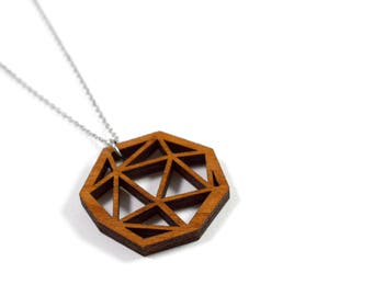 Pendentif Acier et bois / Plywood and stainless steel Necklace