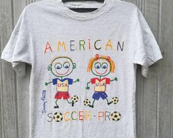 Vintage 90s Danny First American Soccer Pro Tshirt Graphic Cartoon