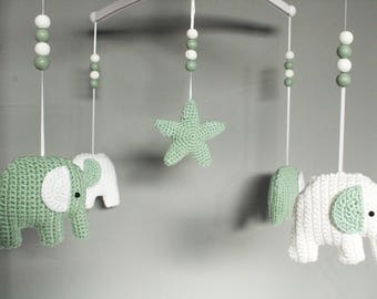 Music mobile elephants green and white