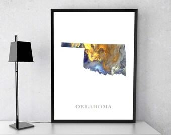 Oklahoma poster, Oklahoma art, Oklahoma map, Oklahoma print, Gift print, Poster