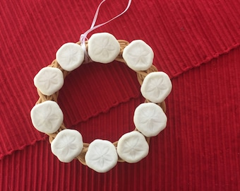 Real Sea Biscuit Wreath on Natural Rattan or Grapevine with a Ribbon