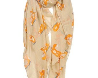 Fox printed viscose scarf