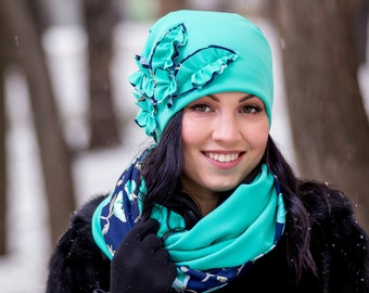 Mint Dark Blue Tiffany Cloche Hat with Flower Decor Infinity Scarf Large Wraparound Warm Winter Beanie Neckwarmer Scarf Christmas Gift