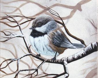 "Chubby Chickadee - PRINT, 8""x10"", giclee, by Megan Ann Sterritt."