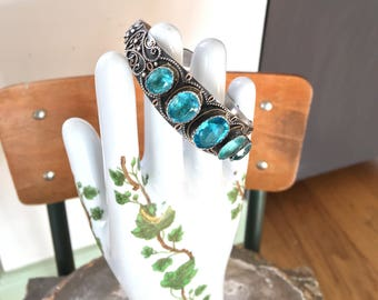 old bracelet Indian or Moroccan gold and silver and blue glass