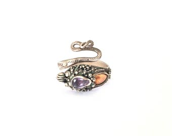 Antique Sterling Silver & 14ct Gold Amethyst Dragon Adjustable Ring