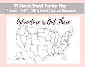 US Map Travel Tracker Printable, Bullet Journal, Planner Insert, PDF, A5 & Letter, Instant Download