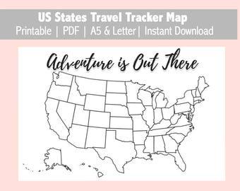 Travel Tracker Map Etsy - Us travel tracking map