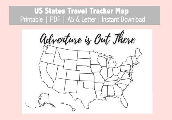 US Map Travel Tracker Printable Bullet Journal Planner - Us map download pdf