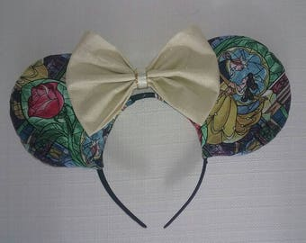 Beauty and the Beast Stained Glass Mouse Ears
