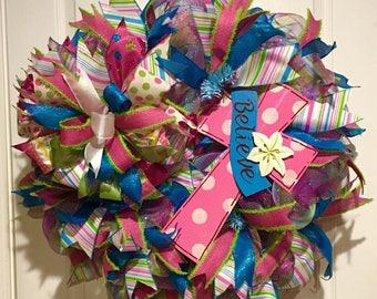 Believe in Easter, Easter, pink wreath, blue wreat, spring wreath, religious wreath, cross, believe,