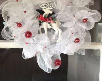 Red & white deer christmas wreath