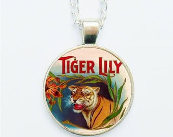 Tiger Lily Pendant Necklace Earrings Ring or Pin Badge Wild Animal Vintage Cigar Box Illustration Colourful Tigers Head Jewelry Jewellery