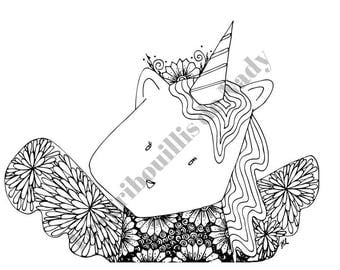 Mandala Licorne à colorier et à imprimer vous-même - mandala - zentangle - anti-stress - licorne - kawaii - coloriage - détente - fait main