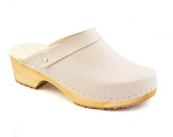 Swedish clogs Women Clogs  Leather mule wooden clogs Wood shoes New clogs beige