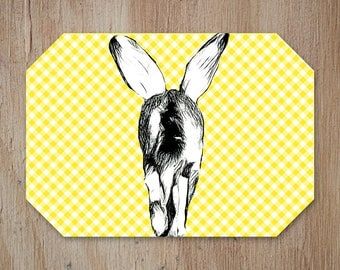 Rabbit Placemat,Easter Placemat,Easter Table,Easter Decor,Kitchen Decor, Country Pattern, Add a Fun Farmhouse Touch to your Kitchen Table.