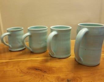 Blue ceramic coffee mugs
