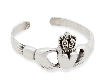925 solid Sterling Silver Claddagh  Band Toe Ring
