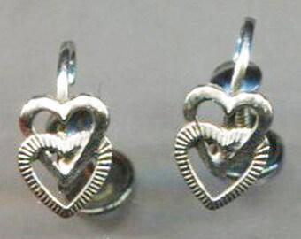 STERLING Petite Cut-Out Double Hearts Screw Back Earrings