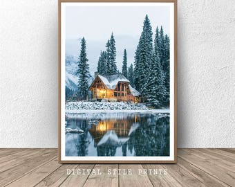 Winter Landscape, Winter Art Print, Cabin Print, Forest Print, Snowy House  Print