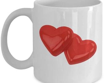 Valentine's day gift-Red hearts 11 oz coffee mug-ceramic-birthday-anniversary