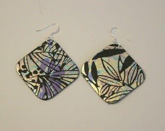 Metallic Square Leather Earrings
