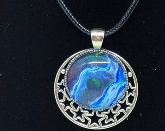 Moon necklace - moon and stars - celestial - galaxy - necklace - blue  - shimmer - silver - necklace - nickel free